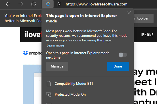 How to Open Websites in Internet Explorer Compatibility Mode in MS Edge
