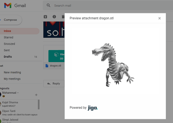 Jiga 3D Viewer for Gmail Attachments