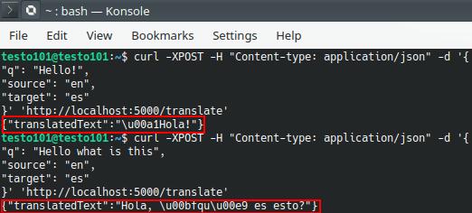 LibreTranslate API translation