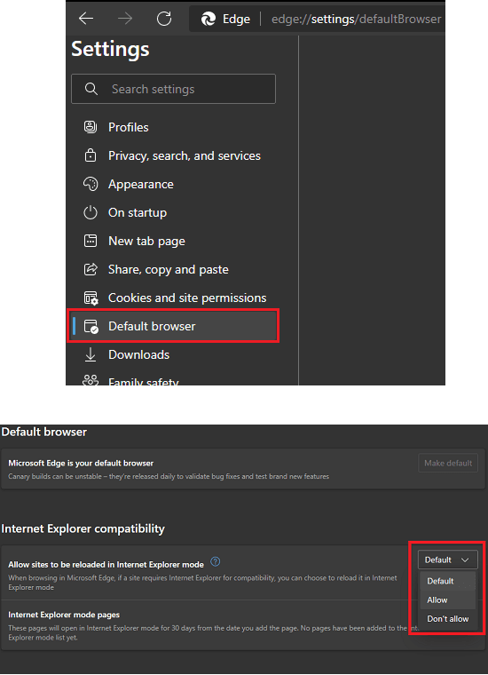 MS Edge Enable Internet Explorer Compatibility Mode