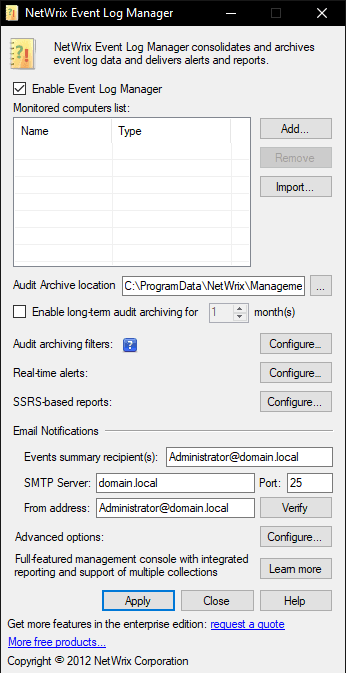 Netwrix Event Log Manager UI