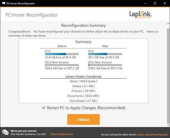 PCmover Reconfigurator Restart