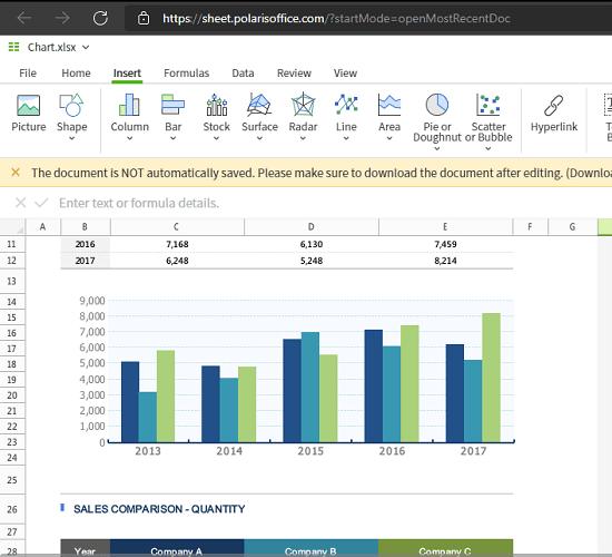 Polaris Office Web Sheets bars and graphs