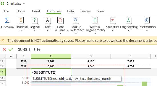 Polaris Office Web Sheets formulas