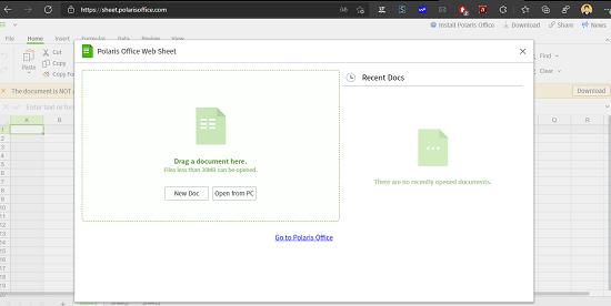 Polaris Office Web Sheets main UI