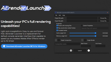 UI for After Effects aerender Command Line Aerender Launcher
