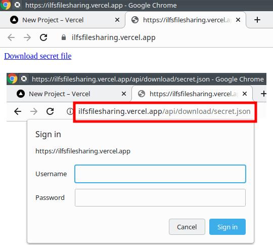 Vercel app secret file download