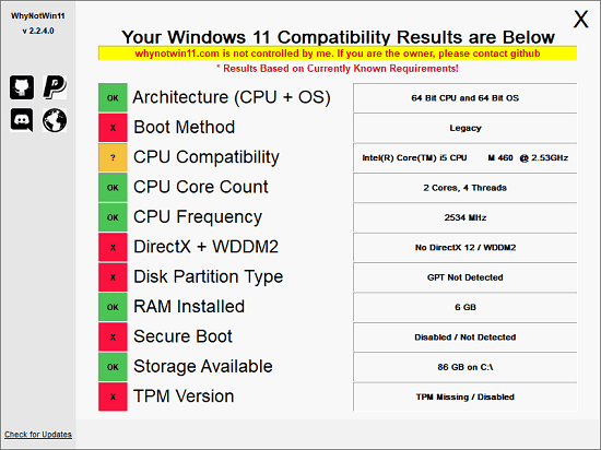 WhyNot11 Windows 11 Compatibility Check in Action