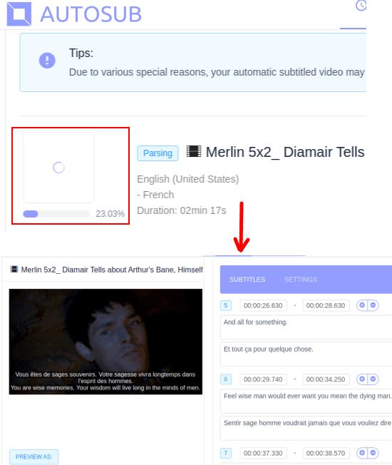 AutoSub subttiles generated