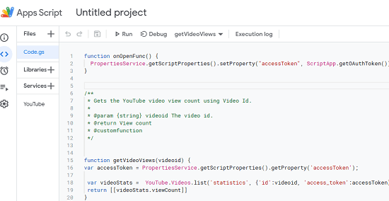 Code in script editor