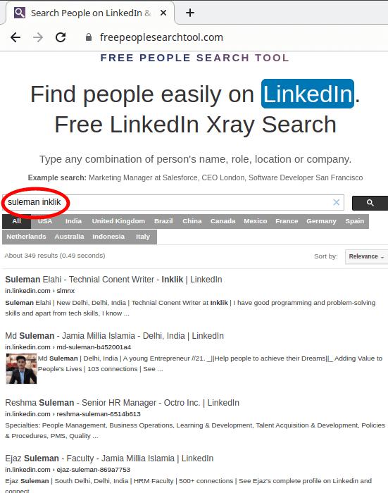 Free People search Tool LinkedIn