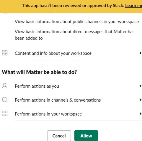 Matter Auth Slack