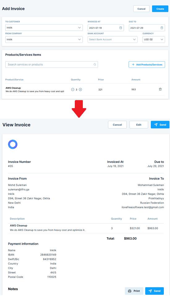 Oklyx invoice created