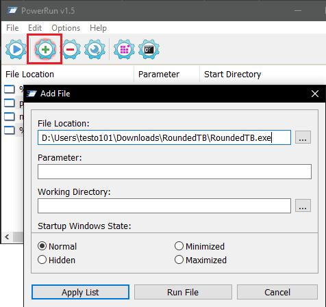 PowerRun Add Program to List