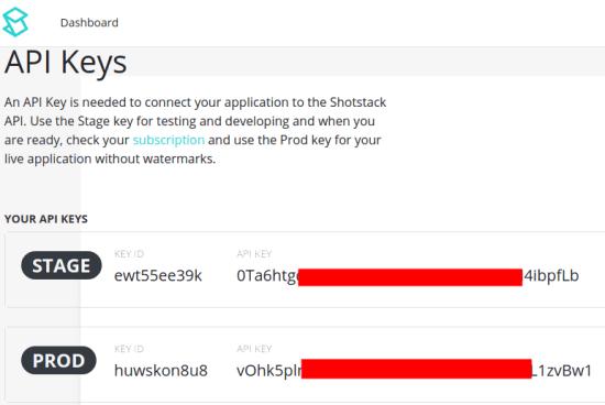 Shotstack API Keys