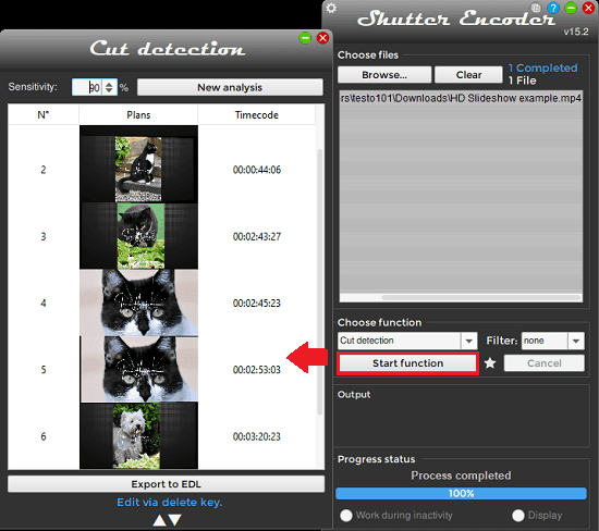 Shutter Encoder cut detection in action