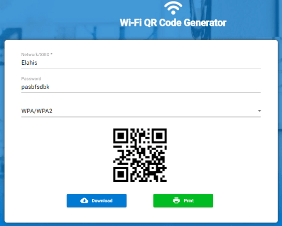 Wi-FI QR code generator