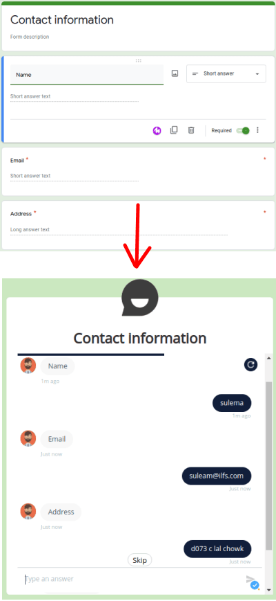 chatbot using Google Forms