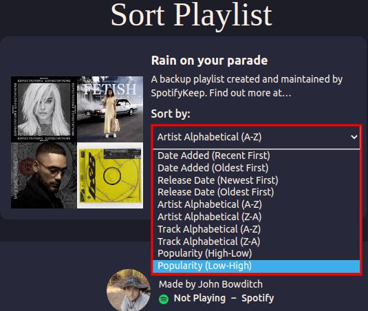 playlist Sorter Sorting methods