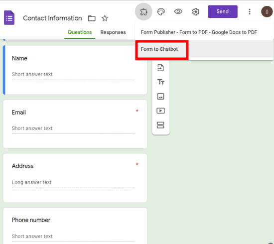 tun chatb bot from Google forms