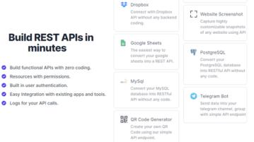 Convert MySQL, PostgreSQL, Google Sheets to Rest API Free