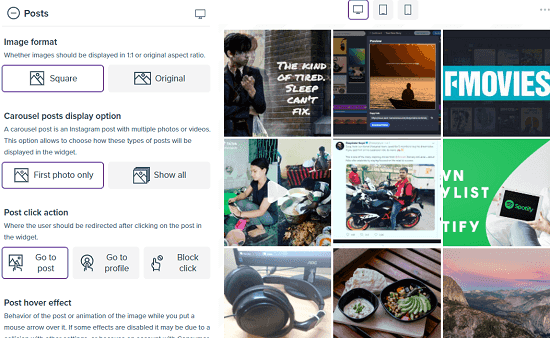 Customize the Instagram feed type