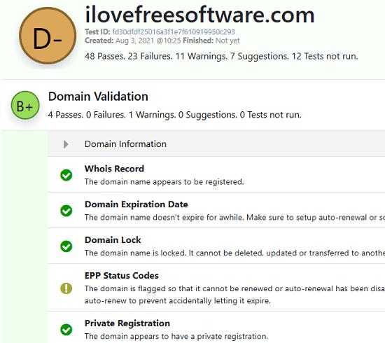 Domain Check Result