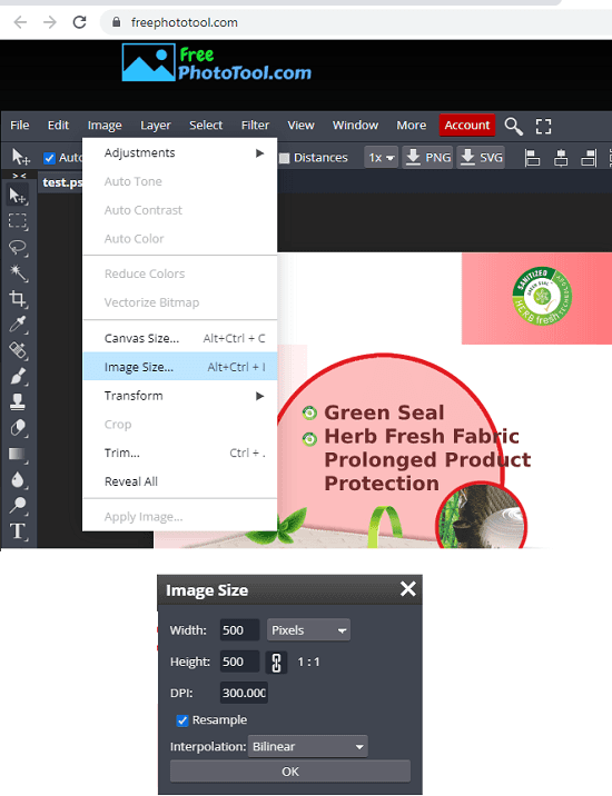 FreePhotoTool PSD Resize in Action