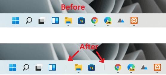 How to Add Separator Between Taskbar Items in Windows 11