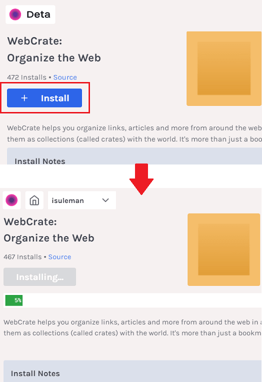 Install WebCrate Deta Space
