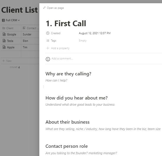 Notion Web Designer Hub Call Template
