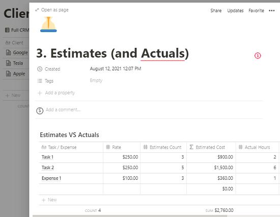 Notion Web Designer Hub Estimates
