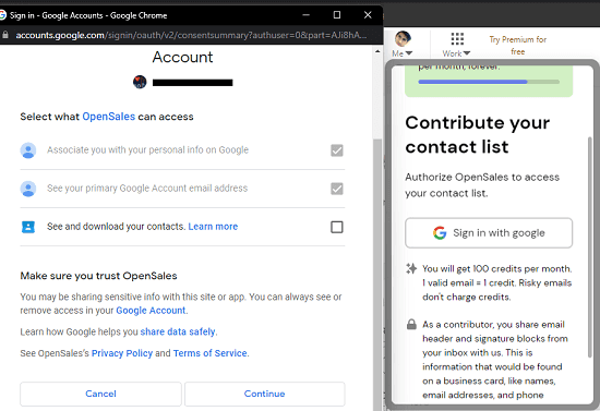 OpenSales Contribute Contacts List