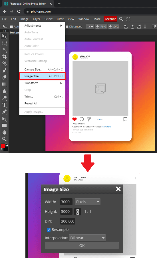 Photopea Resize PSD Photoshop Files