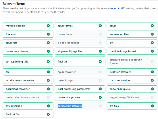 SEO Quality Check Mising Keywords