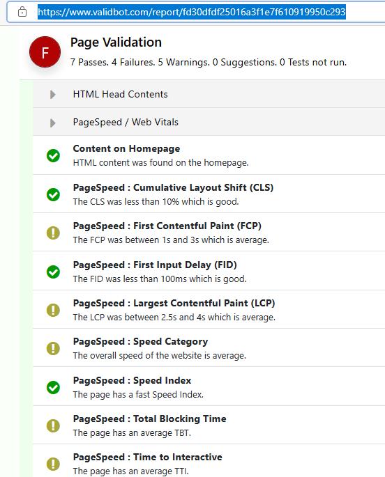 Validbot Page Speed Insights