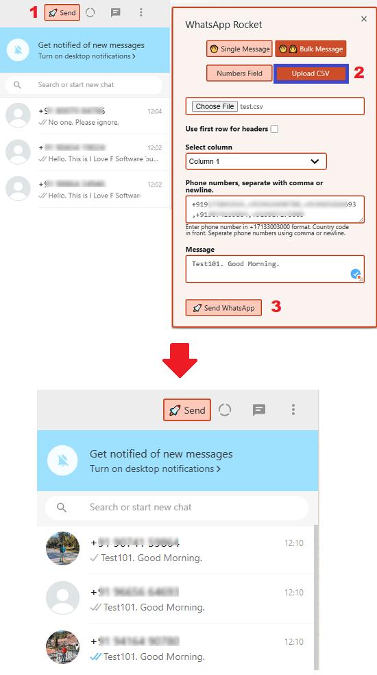 WhatsApp Bulk Messaging via CSV in action