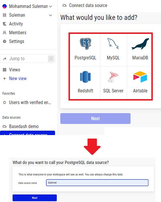 basedash Select data Source