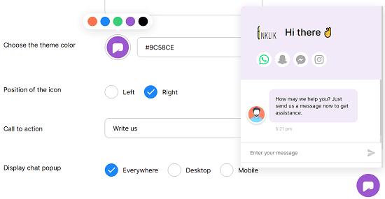 chat widget color optimization
