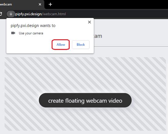 pipfy Allow Webcam