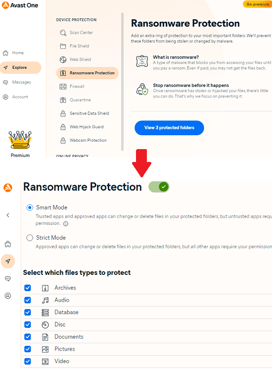 Avast One Ransomware Protection