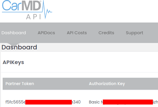 CarMD API Keys and Dashboard
