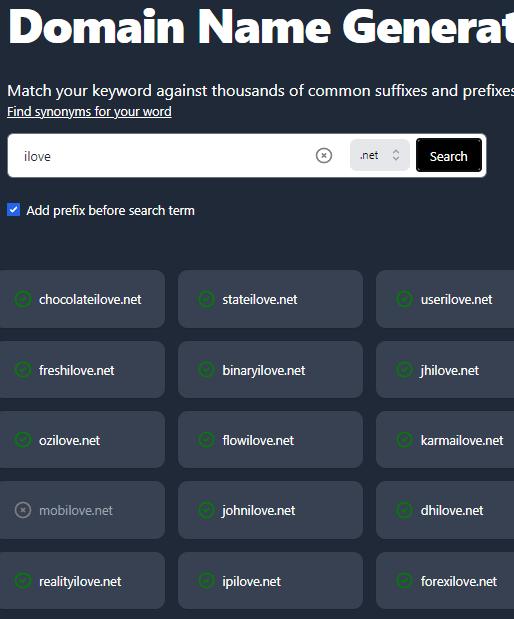 Domain with Prefixes