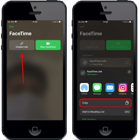 FaceTime Web Link generated
