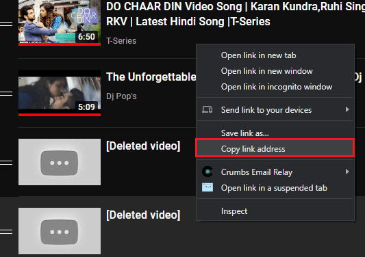Get Link of Deleted Video from a YouTube Playlist