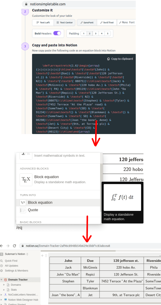 Notion Simple Table Copy Code