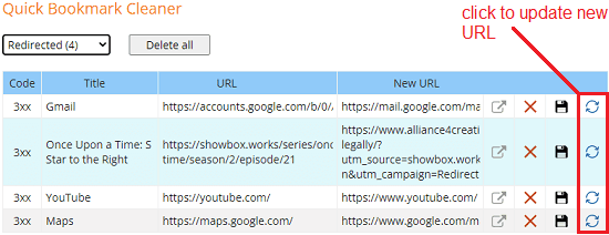 Quick Bookmark Cleaner Update Redirects