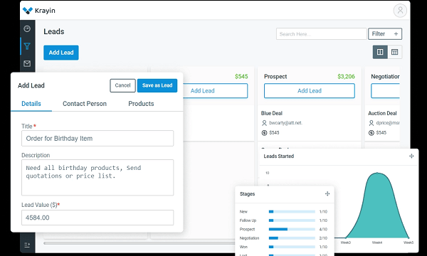 Free Self Hosted CRM for Teams with Leads Visualization: Krayin