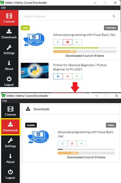 Udeler Download Progress