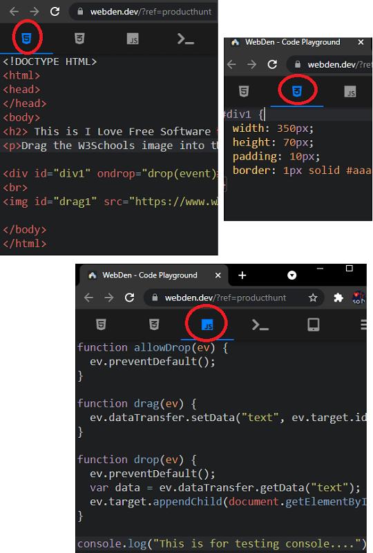 WebDen Different Tabs